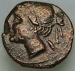 Bruttium (les Bretti) (-214 à -211 env.) Niké à g. Nika àg.  et grain céréale sous sa nuque. Zeus avec foudre, Brettiôn, étoile, corne à dr. AV.JPG